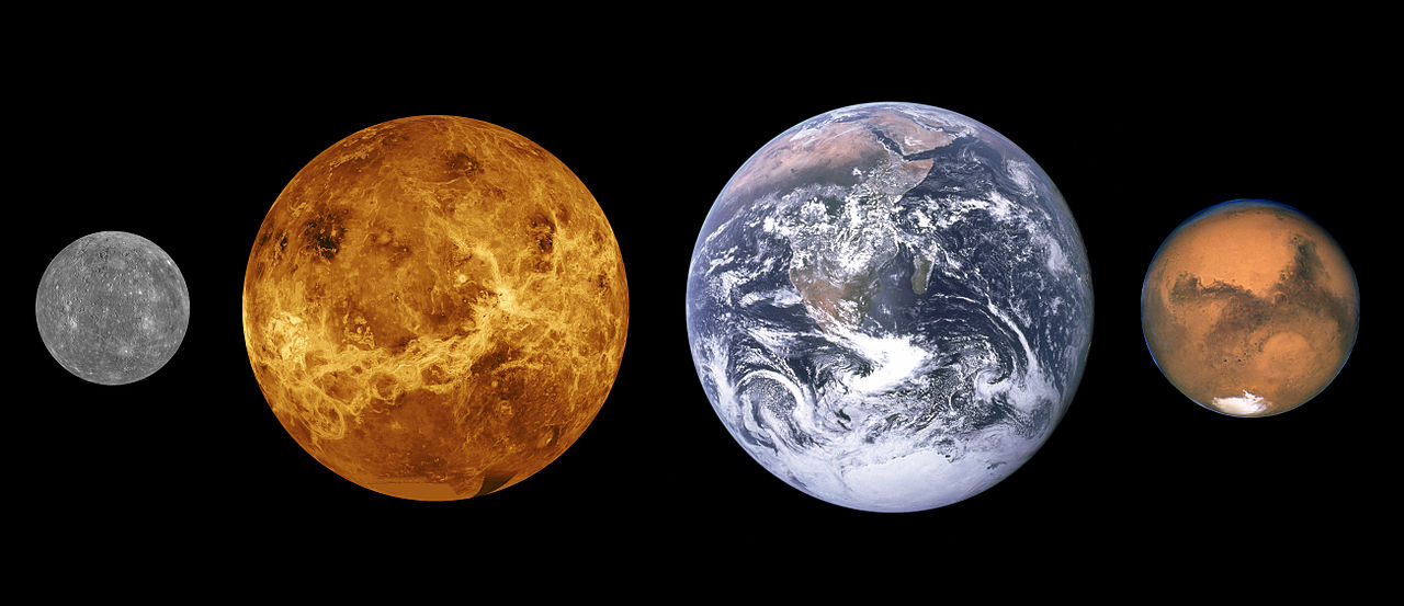 This diagram shows the approximate relative sizes of the terrestrial planets, from left to right: Mercury, Venus, Earth and Mars. Distances are not to scale.
