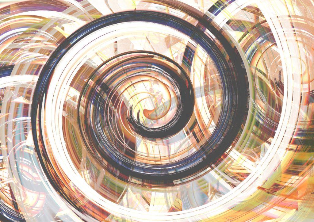 spiraling glitchy pattern