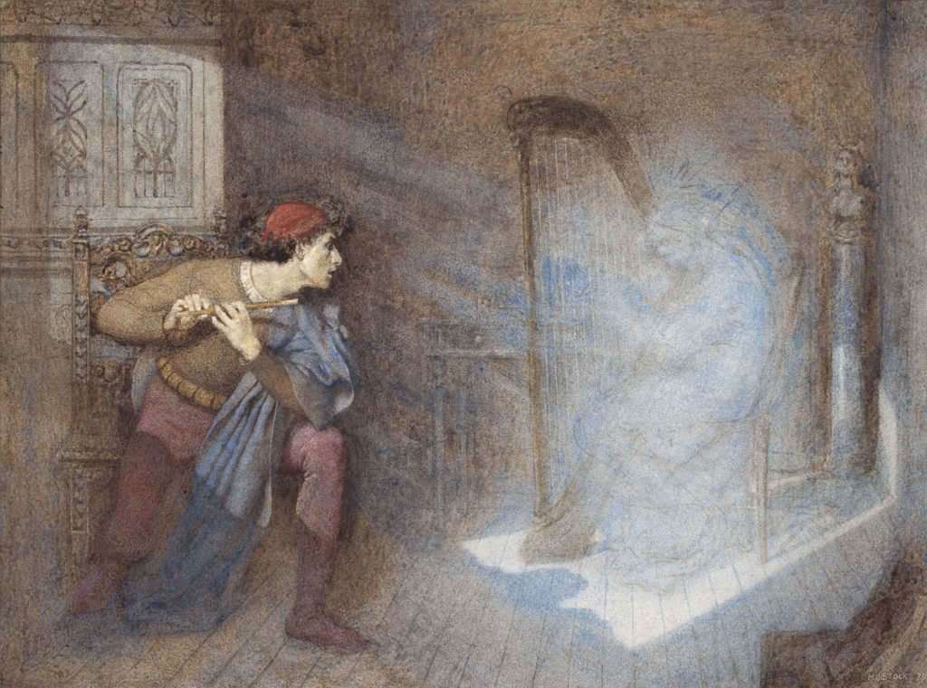 a ghost appearing before a flute player