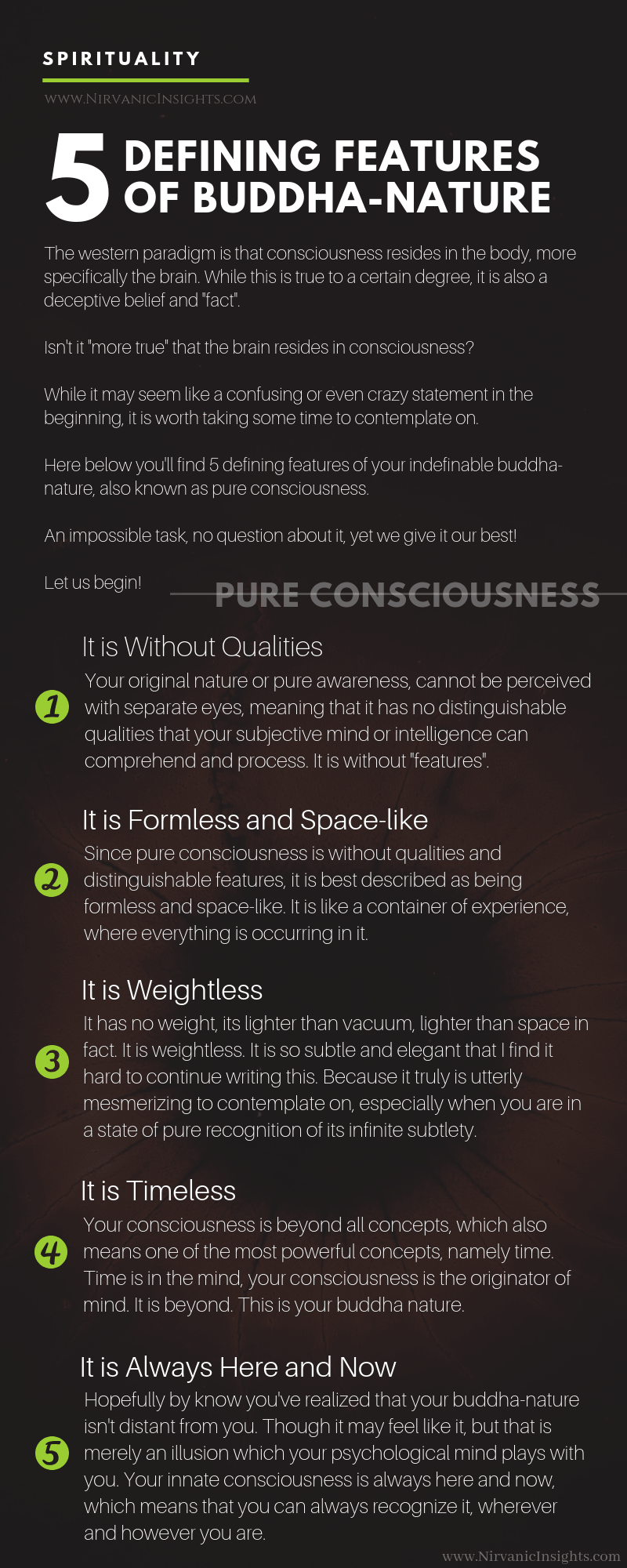 Consciousness: 5 Defining Features of Buddha-Nature (infographic)