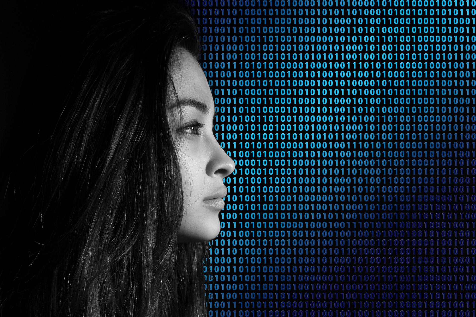Binary code pretty girl portrait