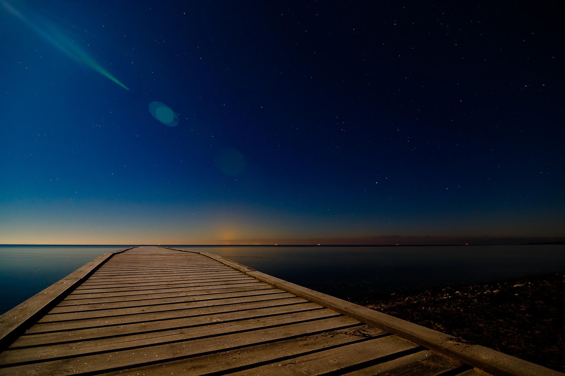 stars sky evening bridge