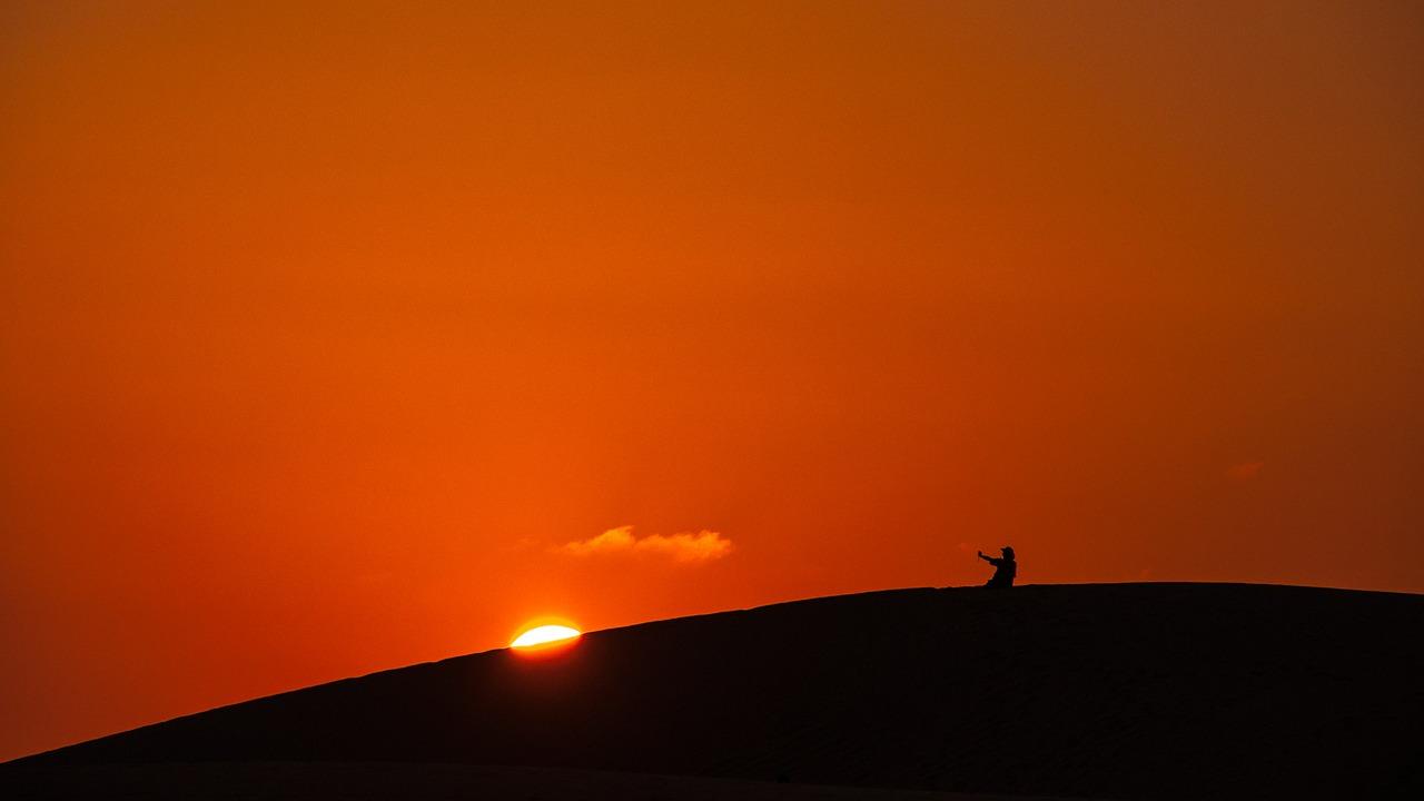 Sunset and a fella