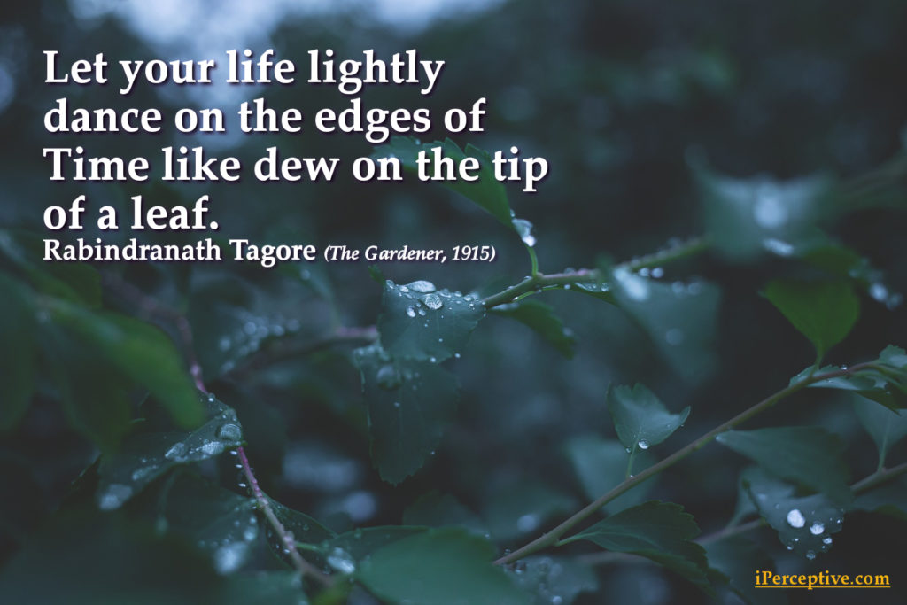 tagore quotes life leaf dewdrop