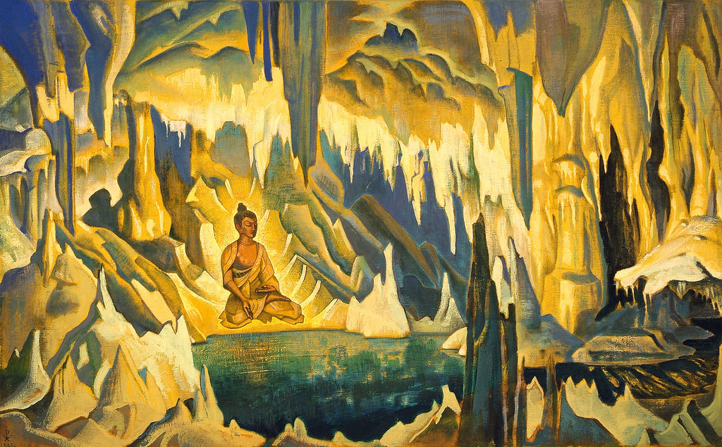 buddha meditating floating
