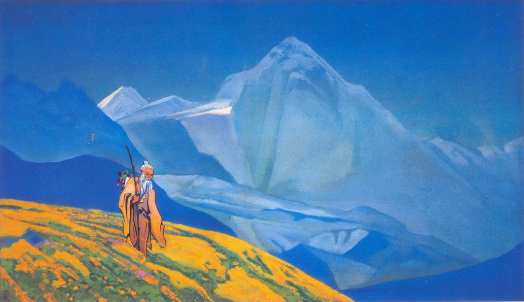 a sage wandering across mountains