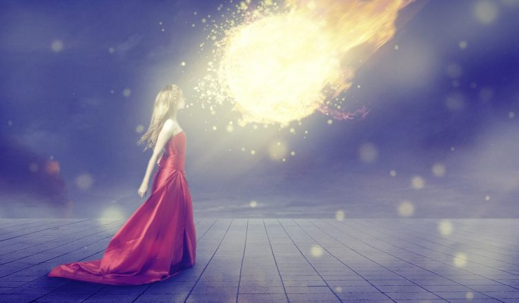 A girl facing a meteor fearlessly
