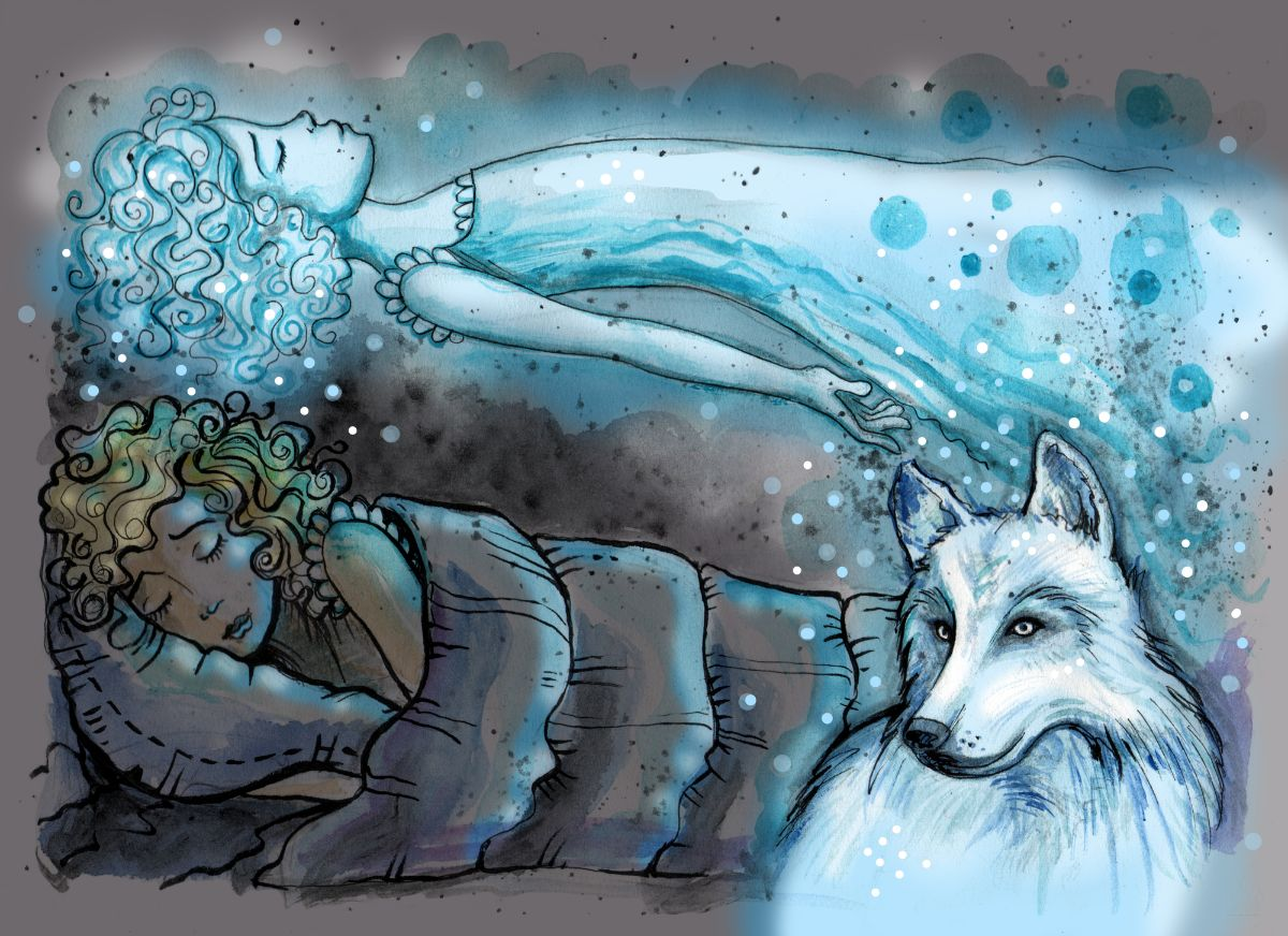 A girl dreaming and astral projecting accompanied by a spirit wolf