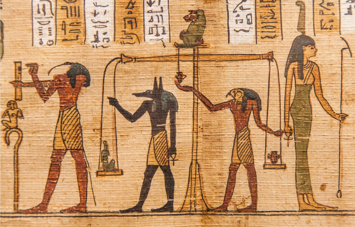 Drawing of egyptian deities in the book of the dead