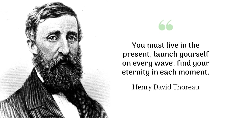 Henry david thoreau quote: You must live in the present, launch yourself on every wave, find your eternity in each moment.
