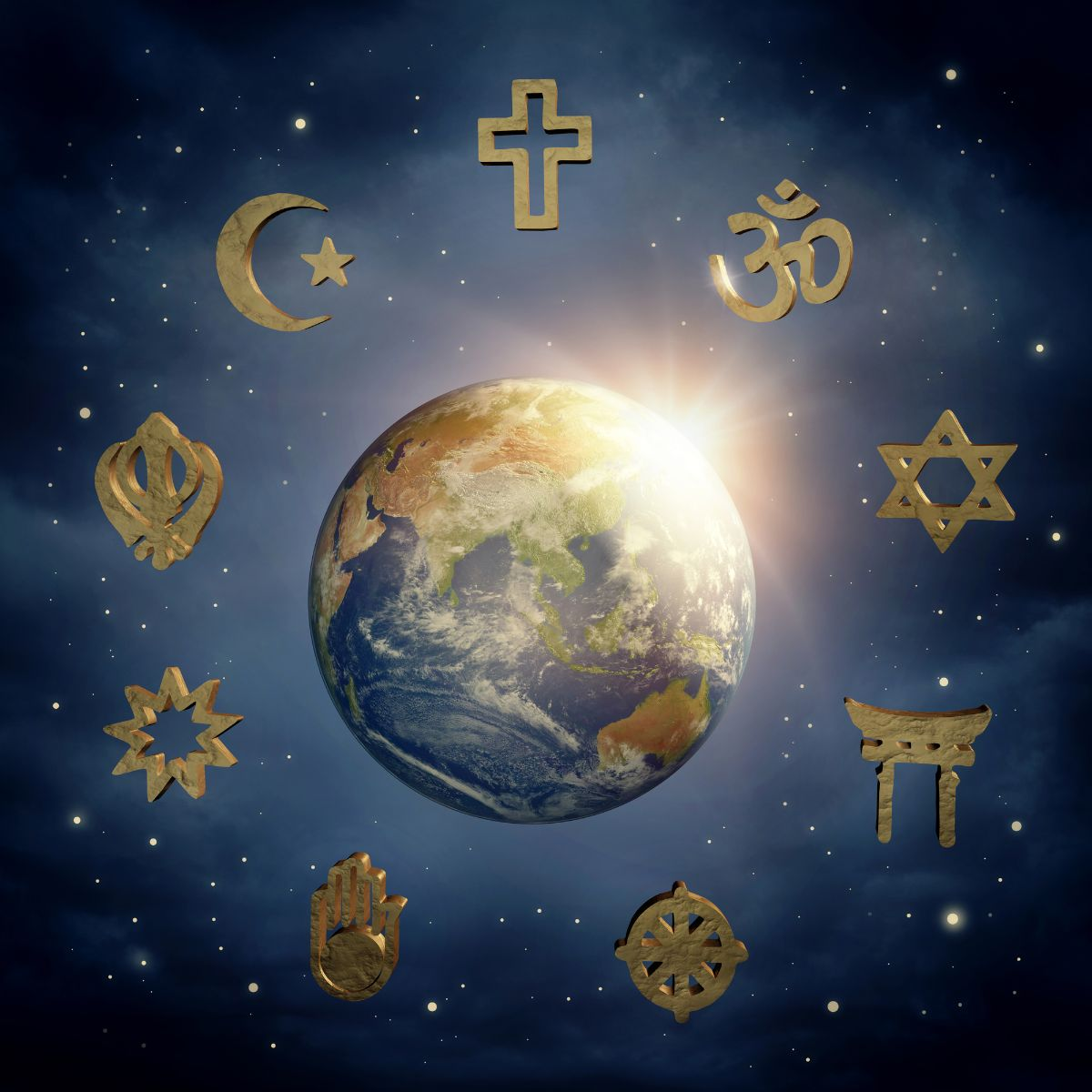 Earth surrounded by religious symbols