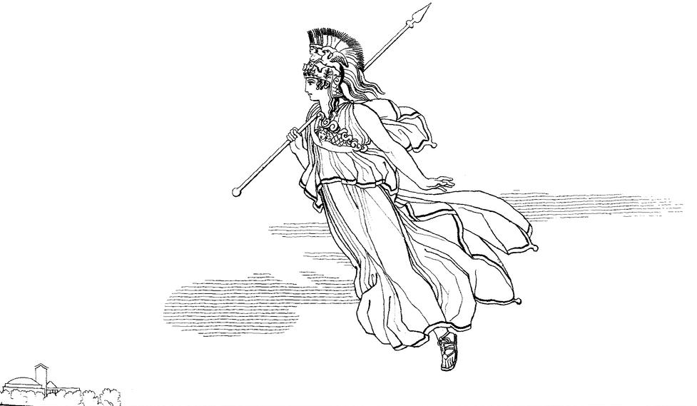 War goddess Athena flying