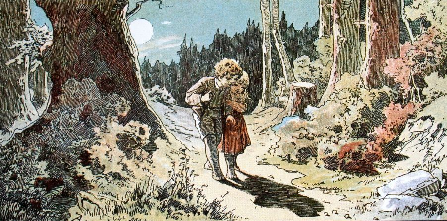 Hansel and gretel walking in the forest