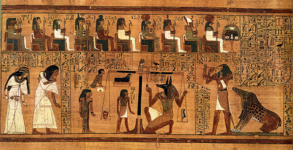 Ancient egyptian painting (weighing of the heart)