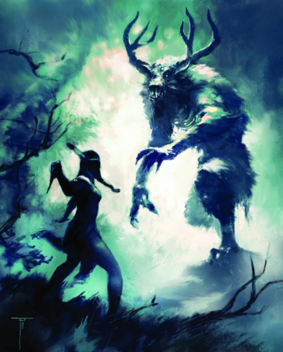 An Native American woman battling a Wendigo. ( Frank Victoria / cupick.com )