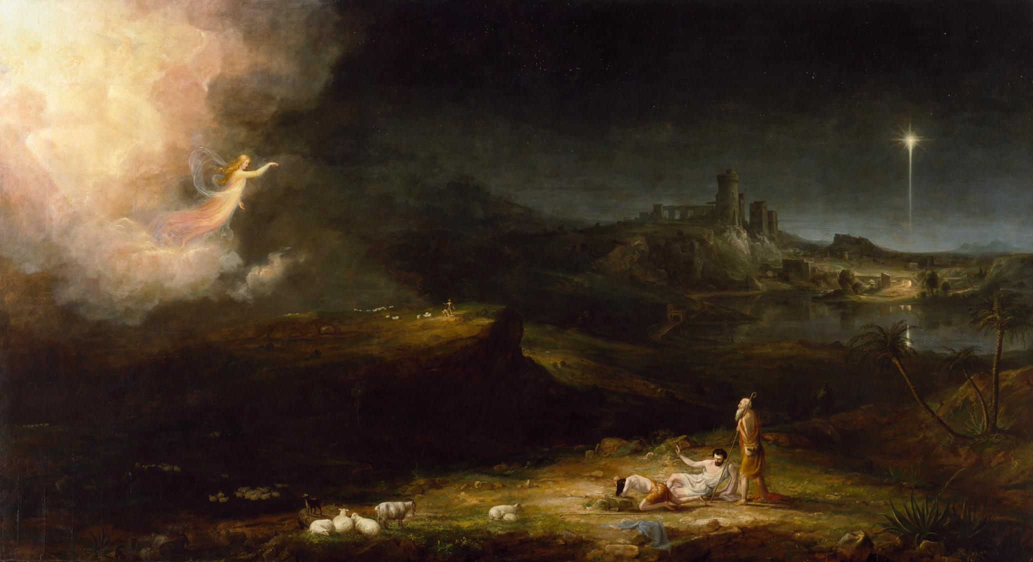 Angel appearing to the shepherds by Thomas Cole
