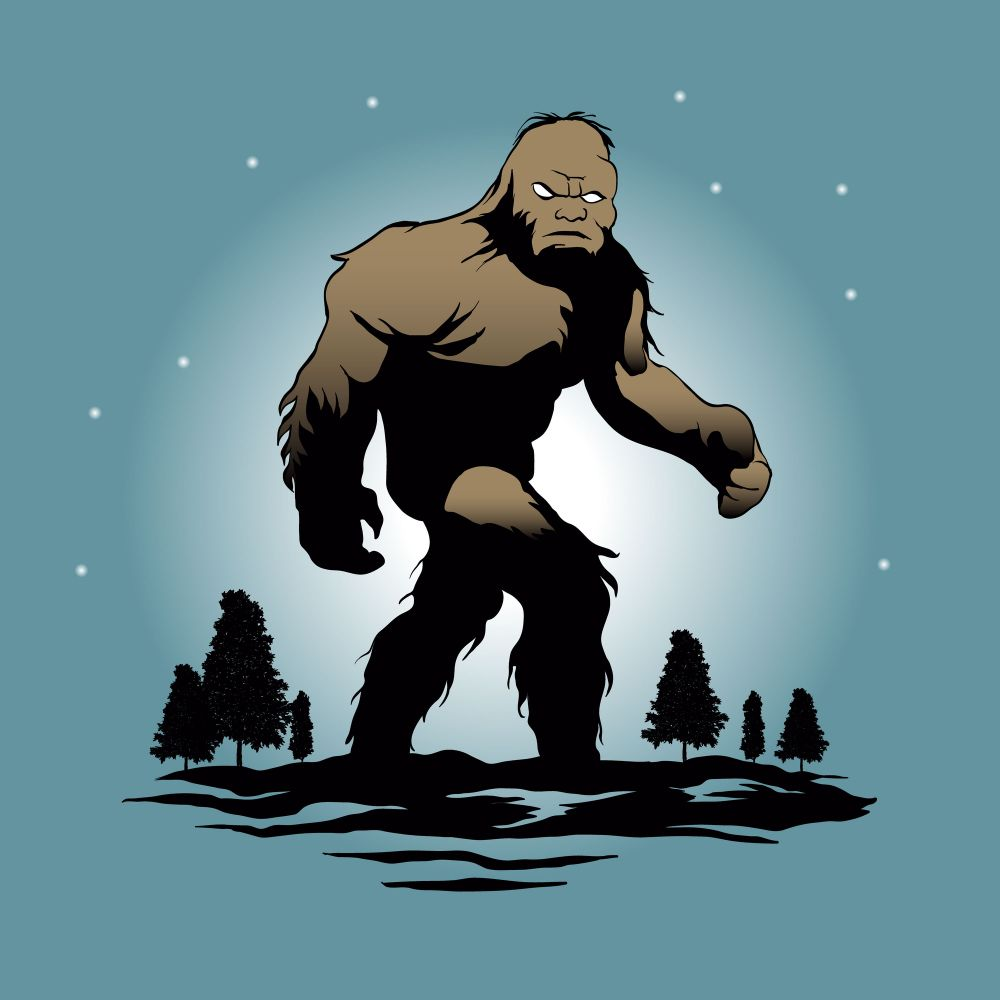 Bigfoot sasquatch walking in firest (animated)