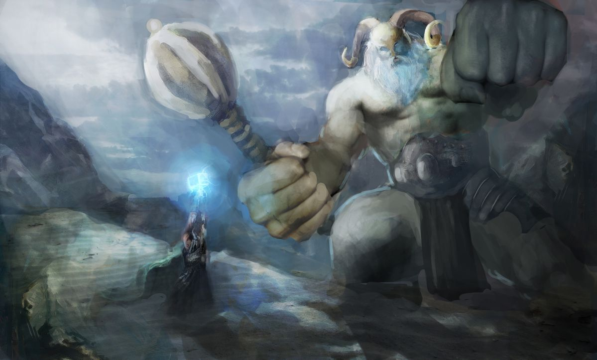 Thor fighting a frost giant