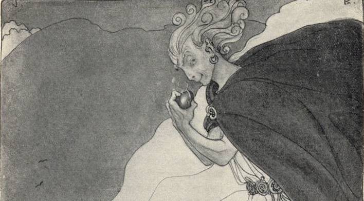 """""""Loki consumes a roasted heart,"""" (1911) by John Bauer."""