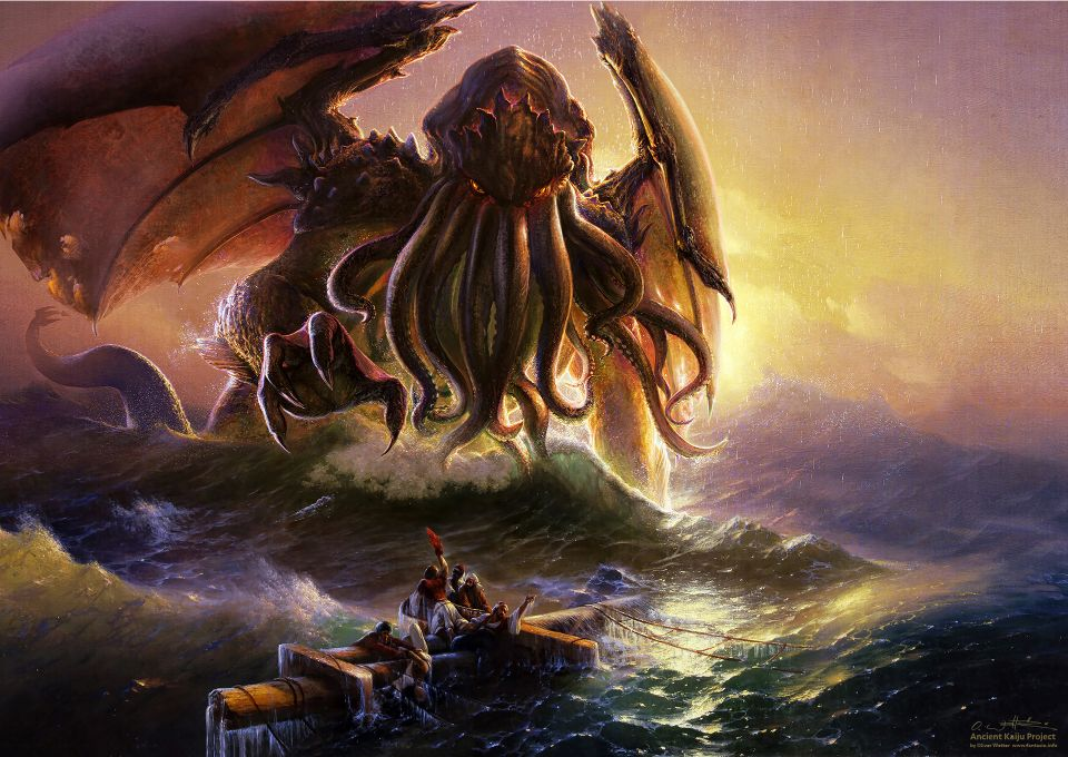Cthulu on the ocean (digitally repainting of Ivan Aivazovsky)