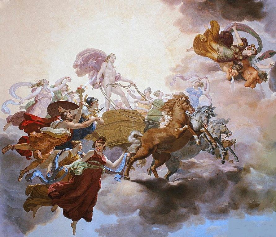Prometheus steals fire from sun god Apollo