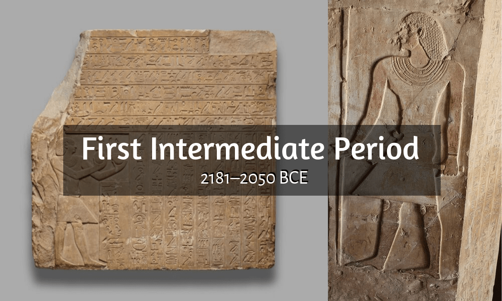 first intermediate period (2181 - 2050 BCE) Intef II on the left and Ankhtify on the right
