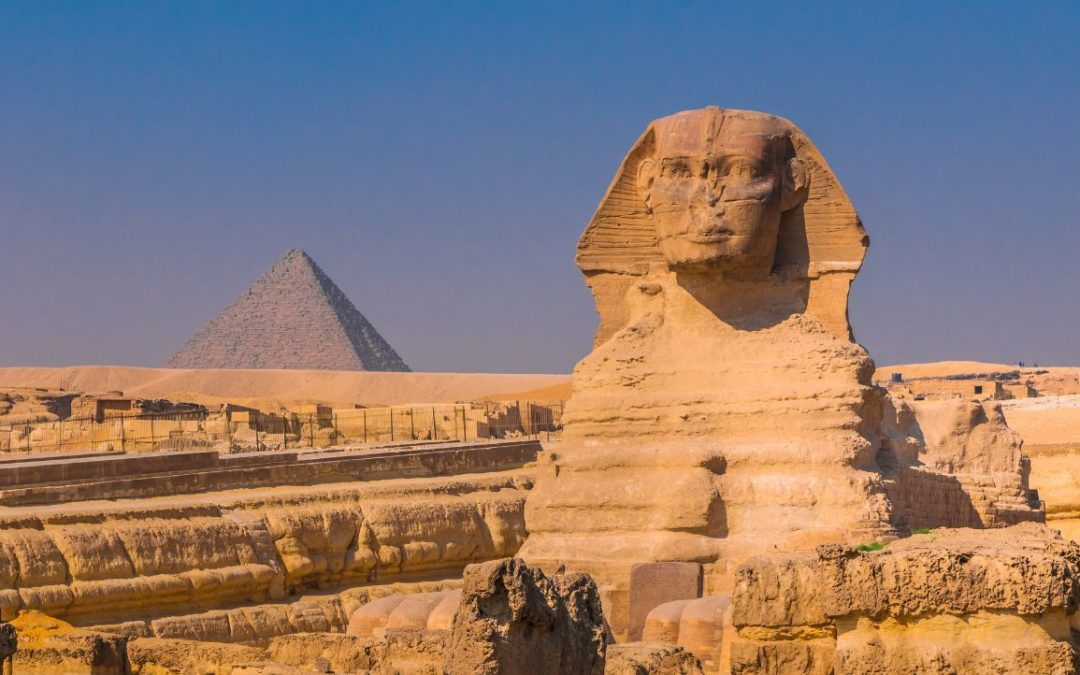 The sphinx and pyramid in Egypt GIza