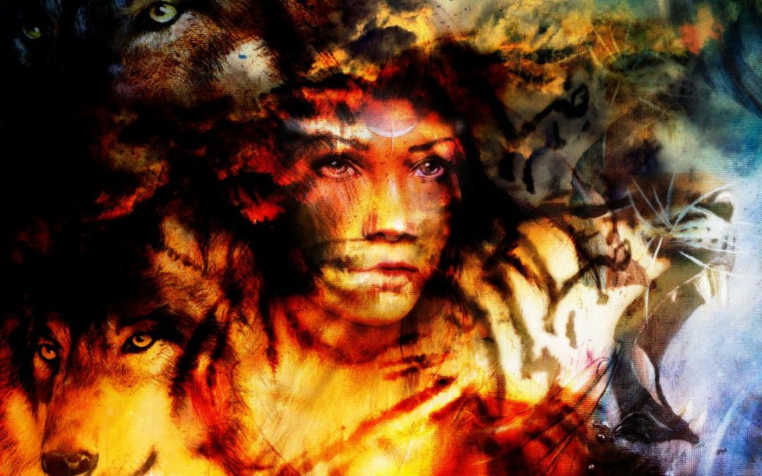 Woman, wolf and tiger