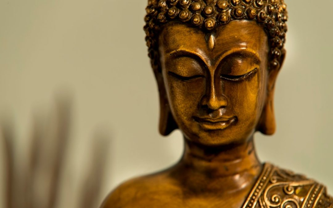 Face of the buddha, serene and calm and happy