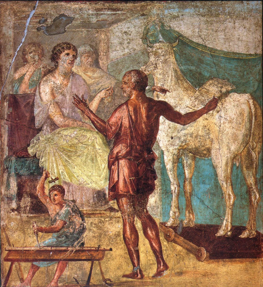 Daedalus presenting Pasiphaë with the Wooden Cow