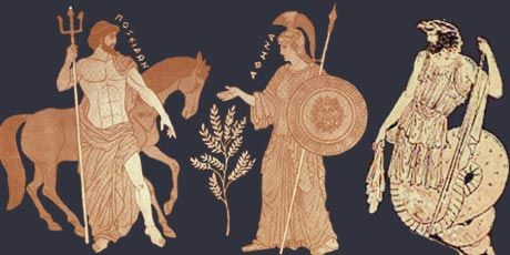 Poseidon and Athena offering their gifts to Athens.