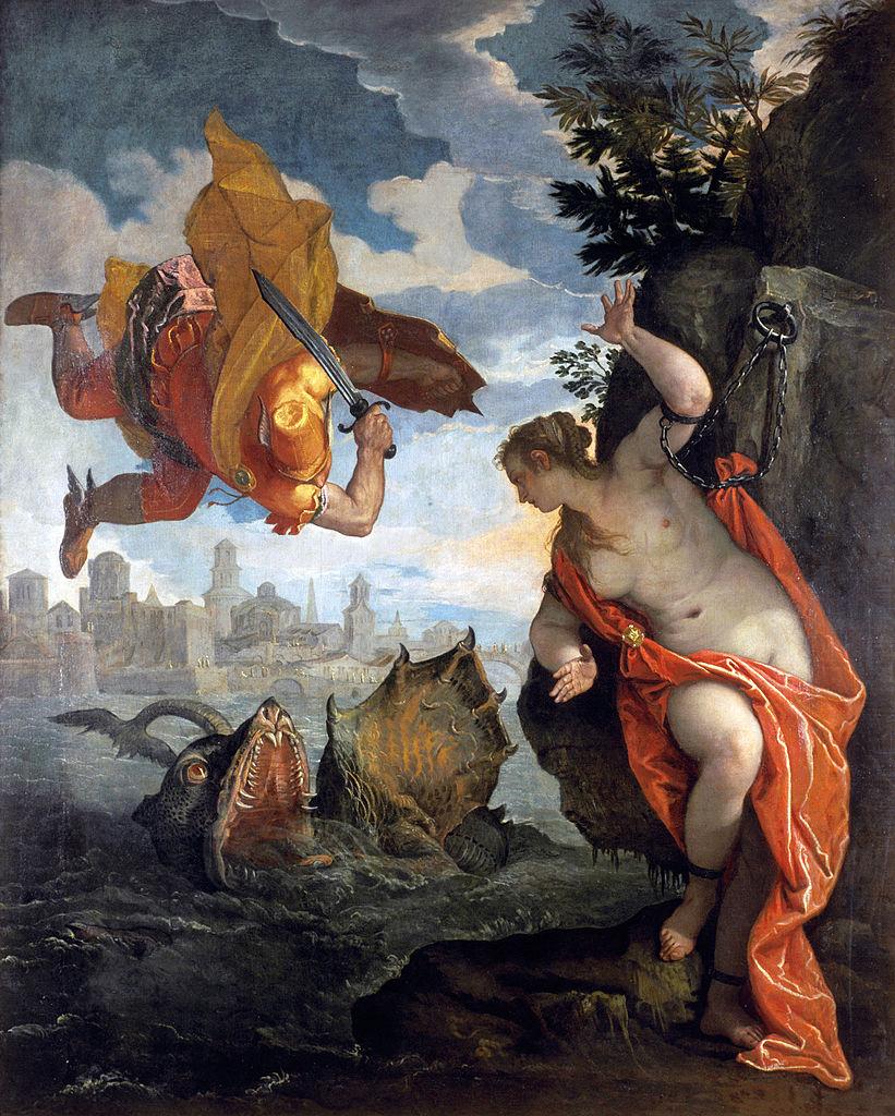Perseus kills Cetus saves andromeda