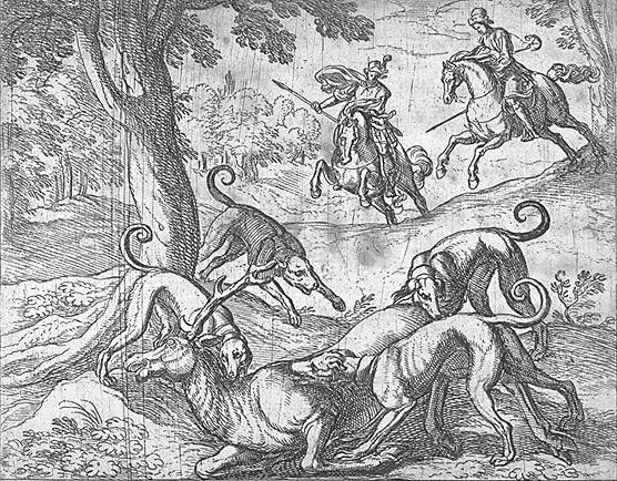 Actaeon pursued and eaten by his hounds