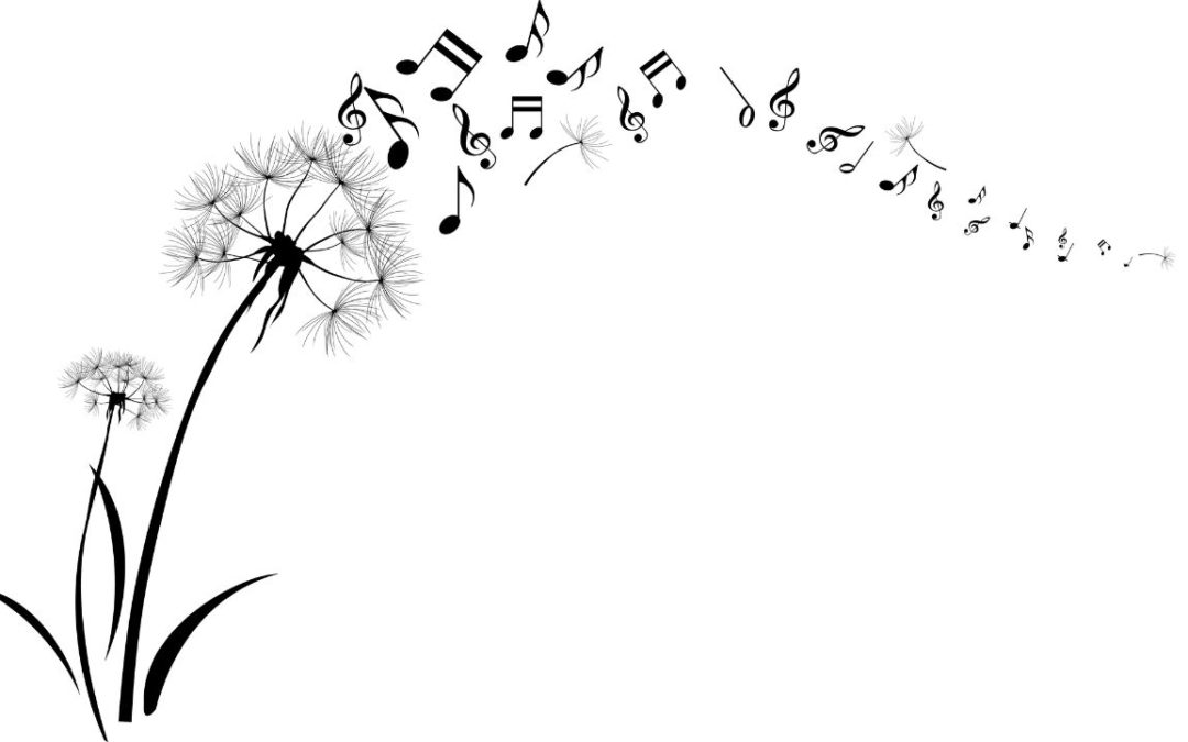 Dandelion with musical notes