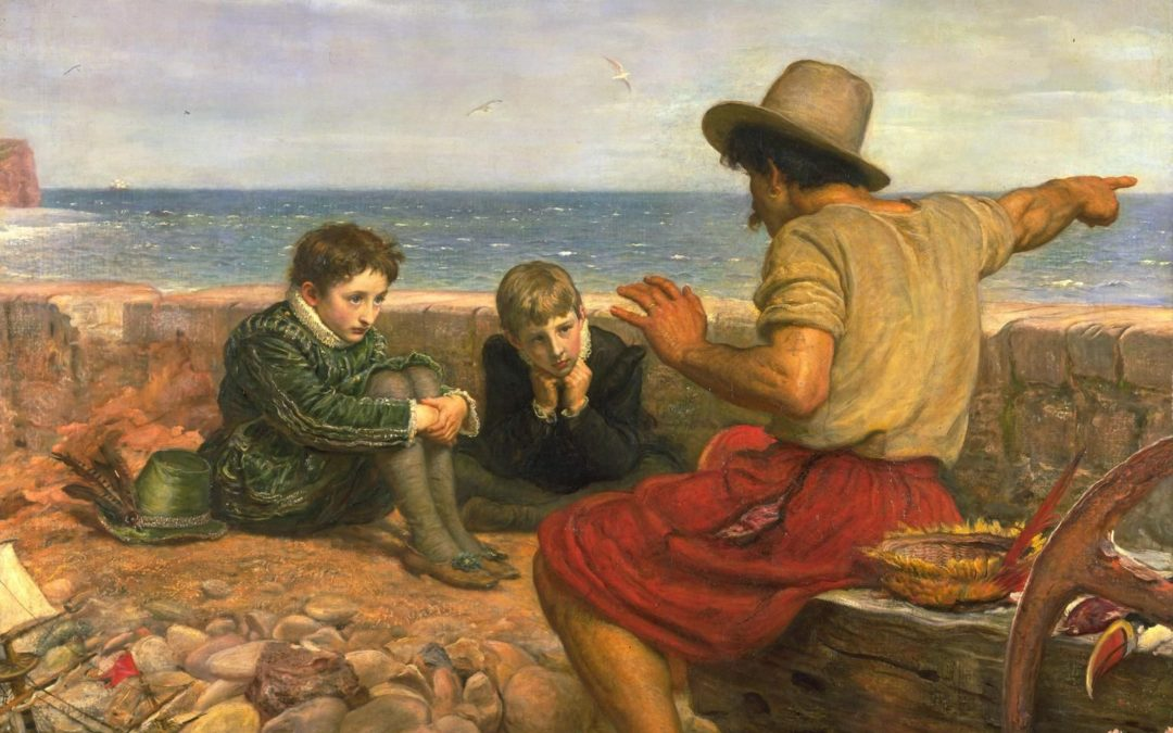 Man telling a story to two young boys listening intently