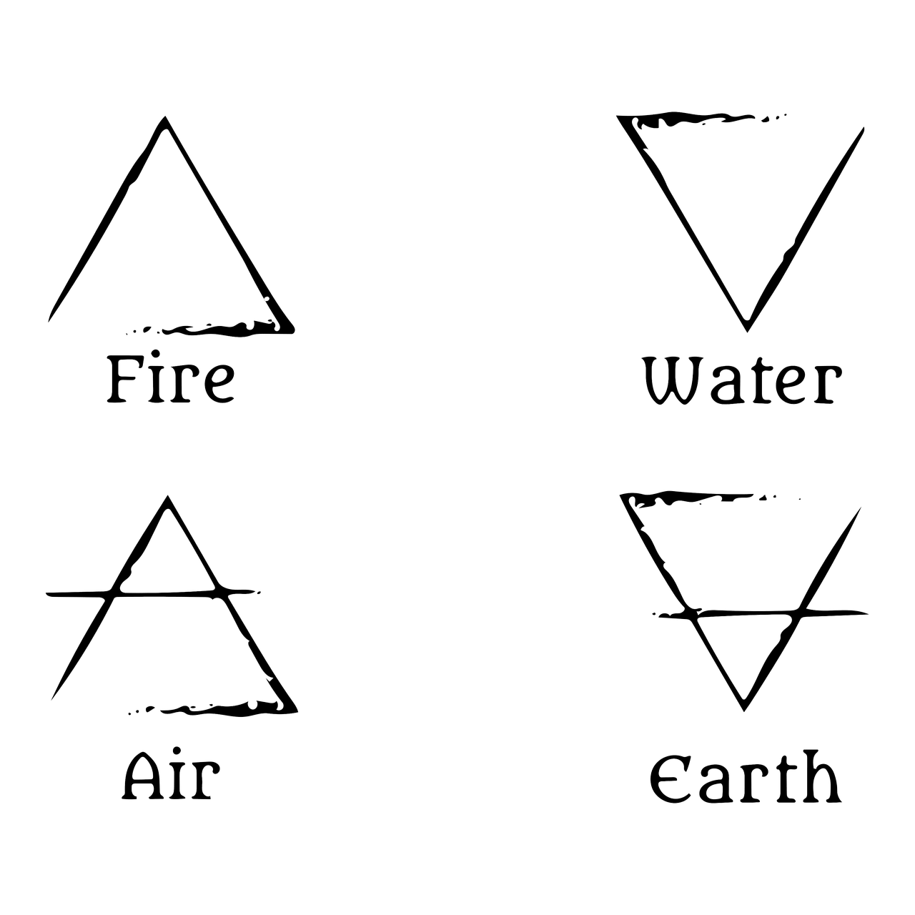 Four elements icons (fire, water, air, earth)