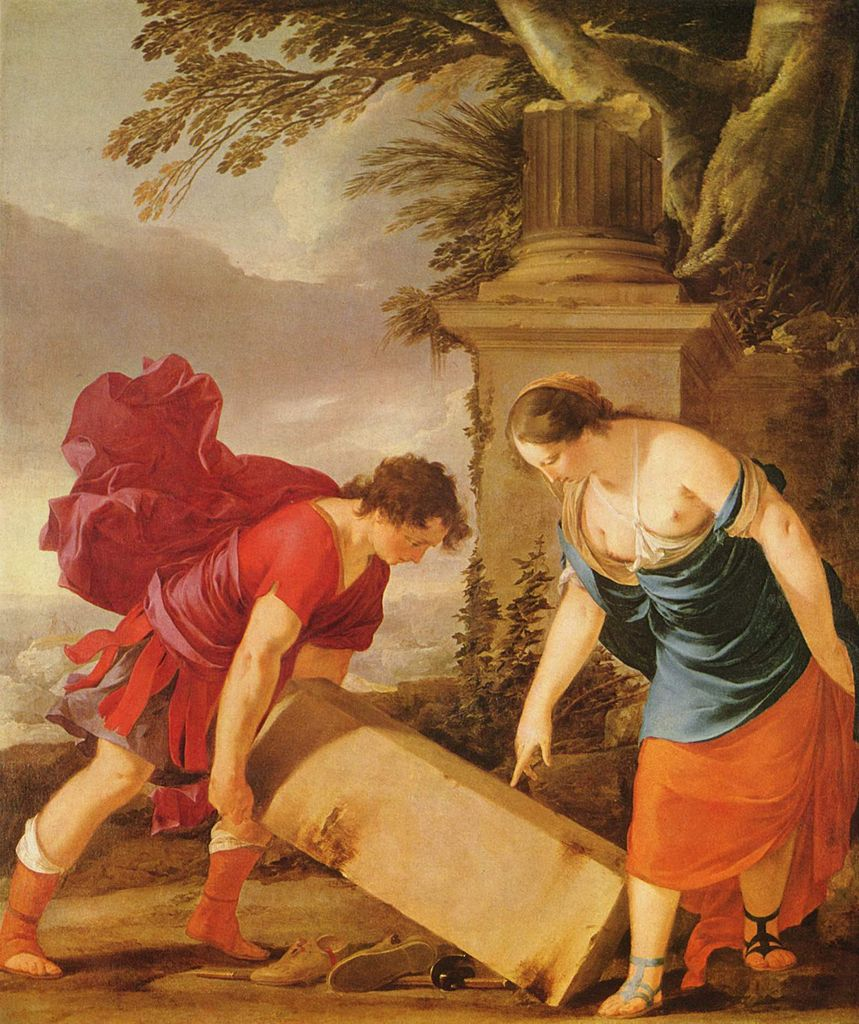 Theseus lifting rock