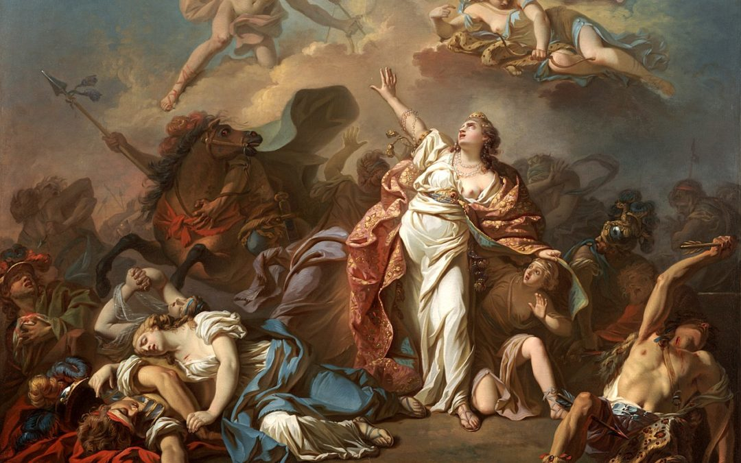 Niobe trying to protect her children from Artemis and Apollo