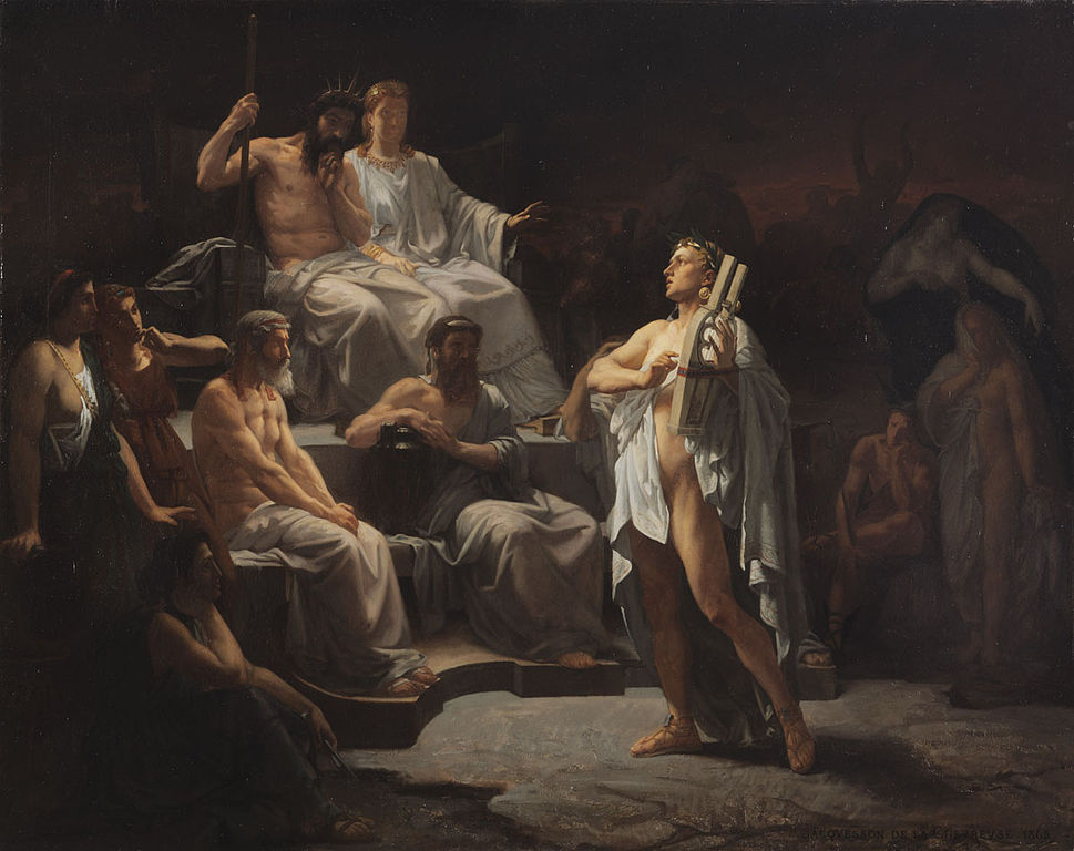 Orpheus singing to Hades and Persephone