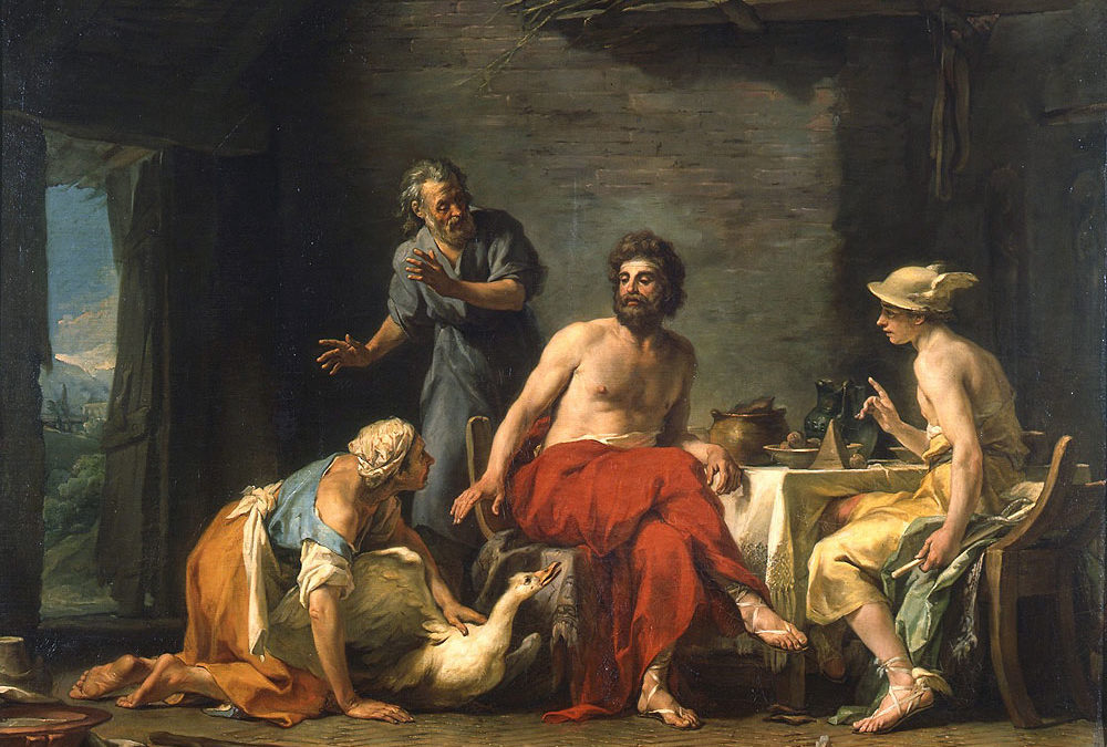Philemon and baucis being hospitable to Zeus (Jupiter) and Hermes (Mercury) Jean-Bernard Restout