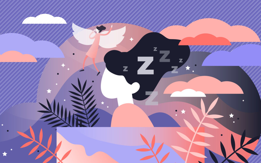 Lucid dreaming vector illustration. Flat tiny sleep control persons concept –