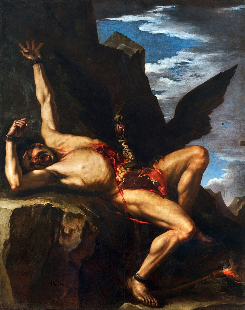 Salvator Rosa Painting of Prometheus being tortured by an eagle